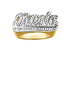 Personalized Name Ring with 5 Diamonds