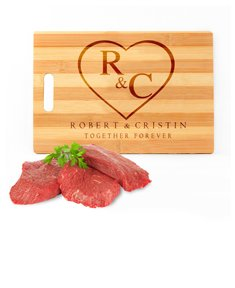 Personalized Heart Initials Cutting Board