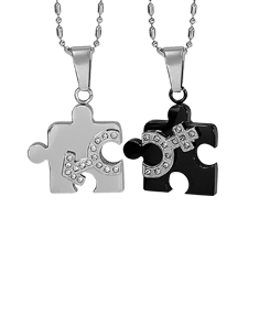 Couple Puzzle Pendants with Stones