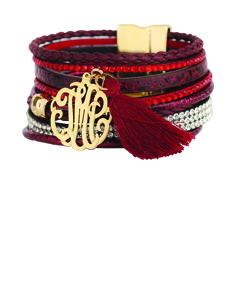 Designer Inspired Red Monogram Bracelet