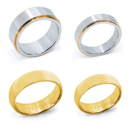 2 Pairs of Stainless Steel Couples Rings