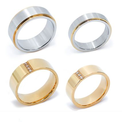 2 Pairs of Stainless Steel Couple Rings
