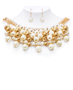 Shiny Faux Pearl Necklace with Earrings