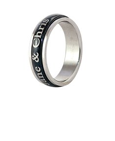 Stainless Steel Black Tone Spinner Ring for Her