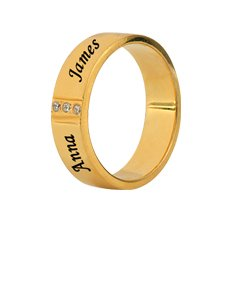 Stainless Steel 14K Gold Plated Band with Cubic Zirconia for Her