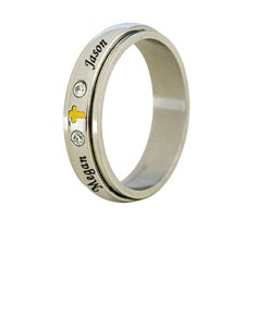 Stainless Steel Spinner Ring with Cubic Zirconia Stones Cross for Her
