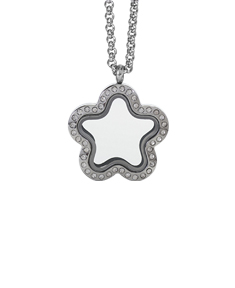 Star Locket with Zirconia Crystals and 4 Floating Motifs