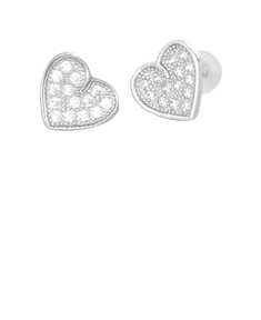 Heart Earrings with Crystal