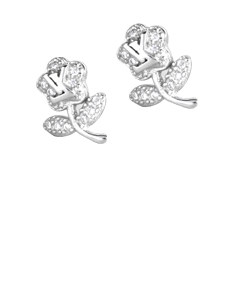 Sterling Essentials Flower Earrings with Crystals