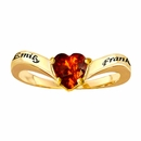 Couples Ring with Heart Shaped Birthstone