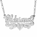 "Double-Plate Rhodium Beaded Name Necklace ""Maria"""