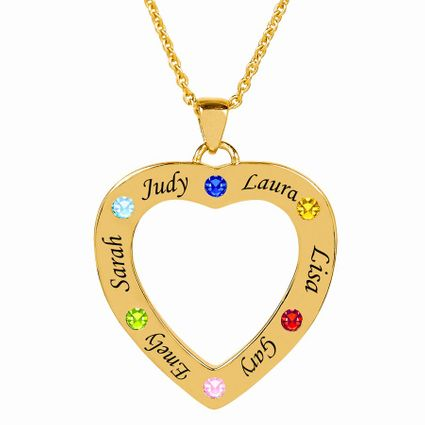 Family Heart Shaped Pendant with Birthstones and Engraving