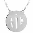 Encircled Block Monogram Necklace w/ Split Chain