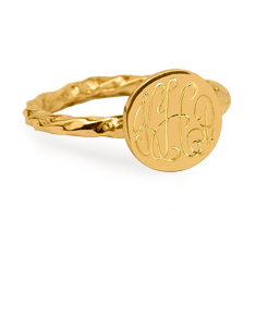 Twisted Signet Monogram Ring