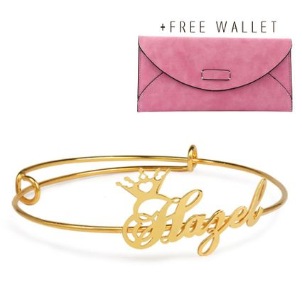 Adjustable Name Crown Bangle with FREE Wallet