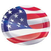 American Flag Oval Paper Plates 96 ct
