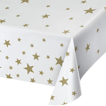 Black and Gold Stars Plastic Tablecloths 6 ct