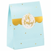 Blue and Gold Oh Baby Favor Bags with Stickers 96 ct