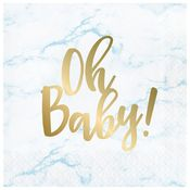 Blue Marble Baby Shower Oh Baby Luncheon Napkins 192 ct