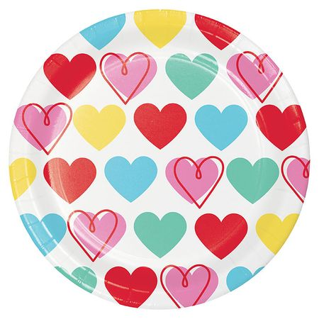 Colorful Hearts Valentines Day Dessert Plates 96 ct