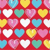 Colorful Hearts Valentines Day Luncheon Napkins 192 ct
