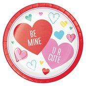 Colorful Hearts Valentines Day Dinner Plates 96 ct