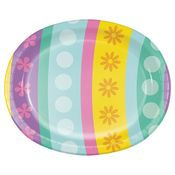 Easter Egg Oval Paper Plates 96 ct