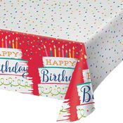 Festive Cake Happy Birthday Paper Tablecloths 6 ct