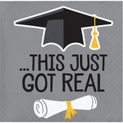 Just Got Real Graduation Beverage Napkins 192 ct