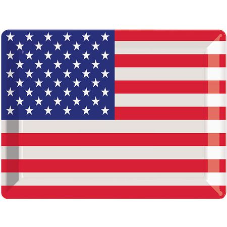 Patriotic Flag Plastic Trays 12 ct
