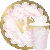 Pink Marble Baby Shower Party Supplies