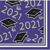Purple 2021 Grad Beverage Napkins 360 ct