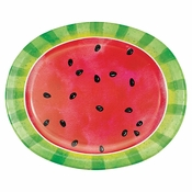 Slice of Watermelon Oval Paper Plates 96 ct