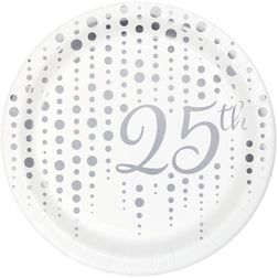 Sparkle and Shine Silver 25th Anniversary Party Supplies