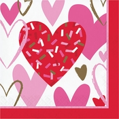 Sprinkled Hearts Valentines Day Luncheon Napkins 192 ct