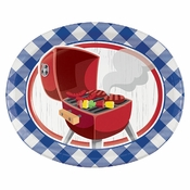 Summer BBQ Oval Paper Plates 96 ct