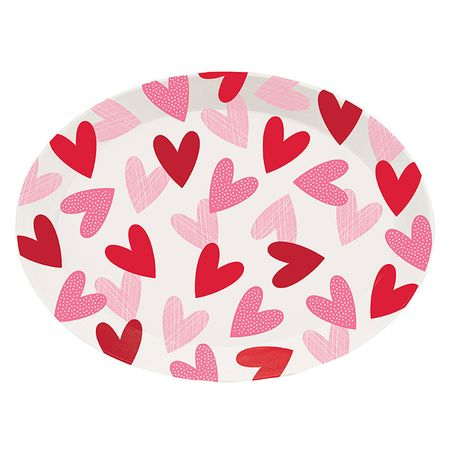 Valentines Day Hearts Plastic Trays 12 ct