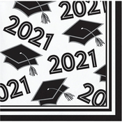 White 2021 Grad Beverage Napkins 360 ct