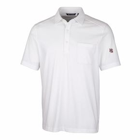Hampden-Sydney White DryTec Cotton Pocket Polo