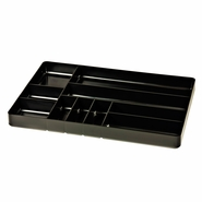 "Ernst 5011 11"" x 16"" Ten Compartment Toolbox Organizer Tray - Black"
