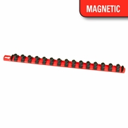 "Ernst 8401M 18"" Magnetic Socket Organizer Rail w/ 15 3/8"" Twist Lock Clips - Red"