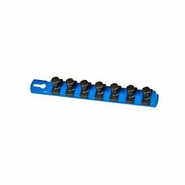 "Ernst 8409 8"" 1/2"" Dr. Socket Organizer Rail with 7 Twist Lock Clips - Blue"