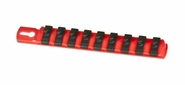 "Ernst 8410 8"" 1/4"" Dr. Socket Organizer Rail with 9 Twist Lock Clips - Red"