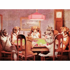 7 Dogs PLaying Poker Tin Sign