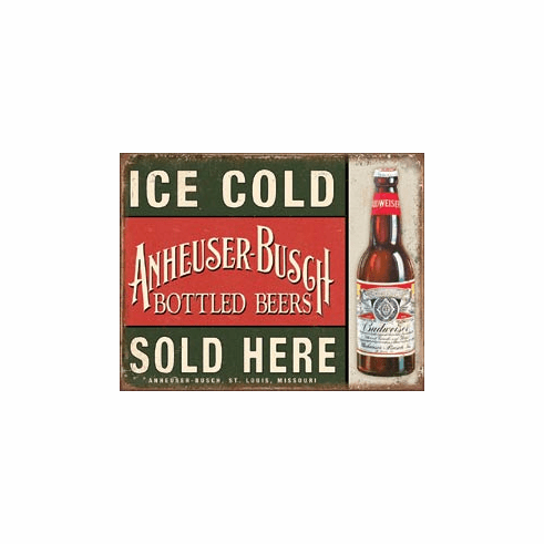 Anheuser-Busch Beer - Ice Cold Tin Signs