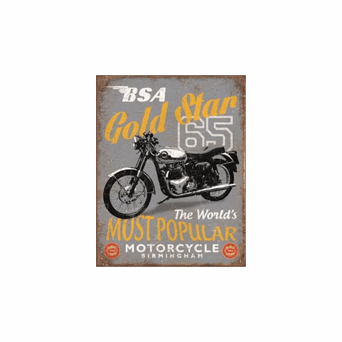 BSA - '65 Gold Star Tin Signs