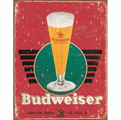 Budweiser - Retro Glass & Logo Tin Signs