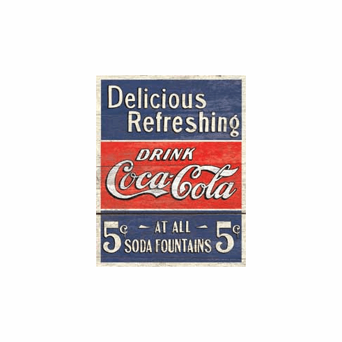 COKE - Delicious 5 Cents Tin Sign