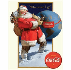 COKE - Santa Globe Tin Signs