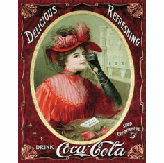 COKE Victorian Red Dress Tin Sign